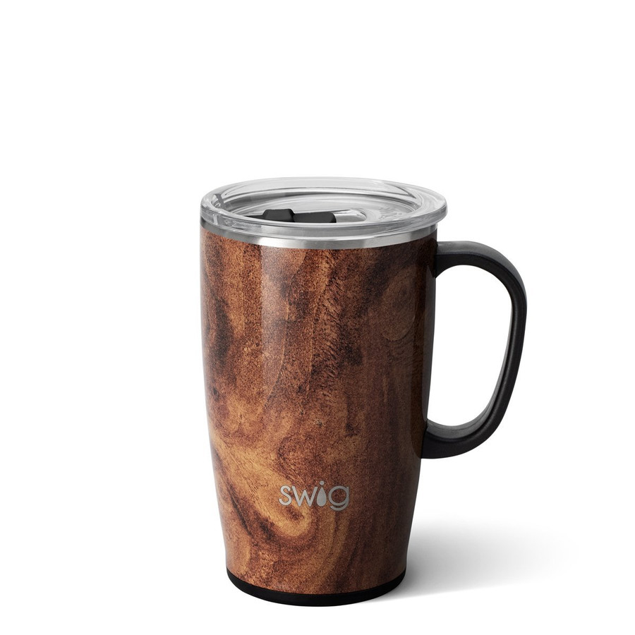 coffee mug tumbler in a dark wood grain finish