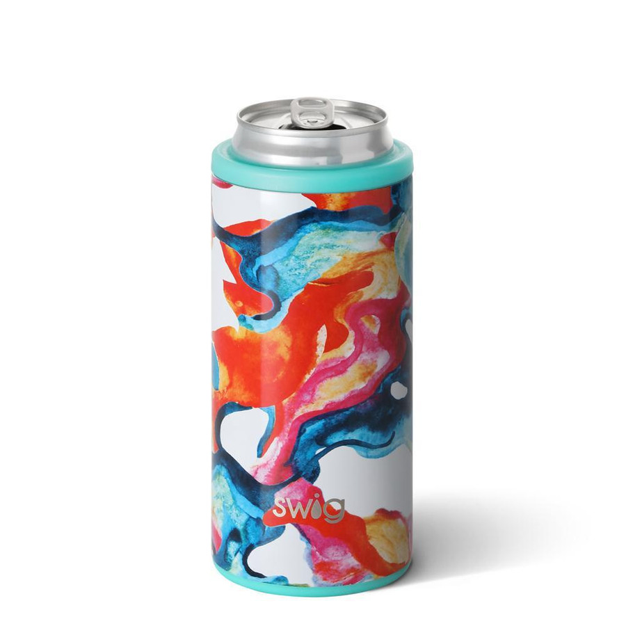skinny can cooler with blue, orange, yellow, and pink swirl design