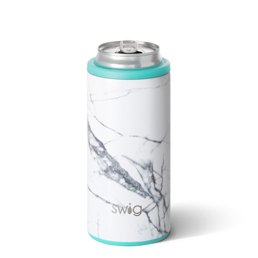 skinny can cooler with white and grey marble design and aqua detailing