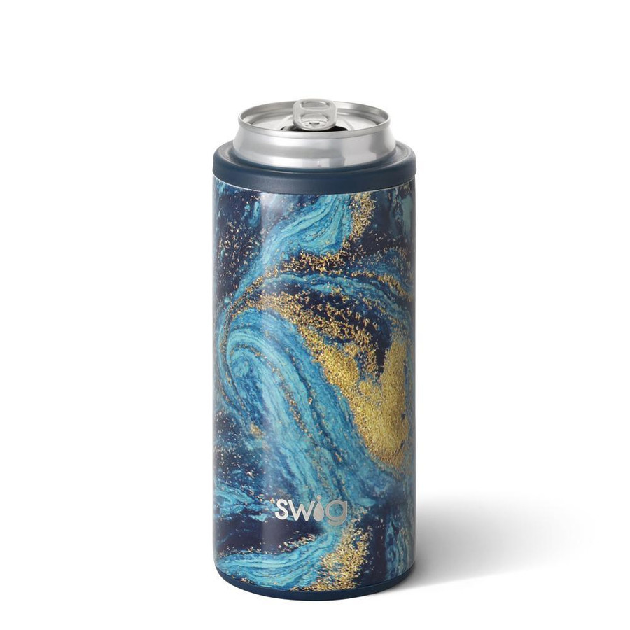 skinny can cooler with multi blue and gold galaxy design