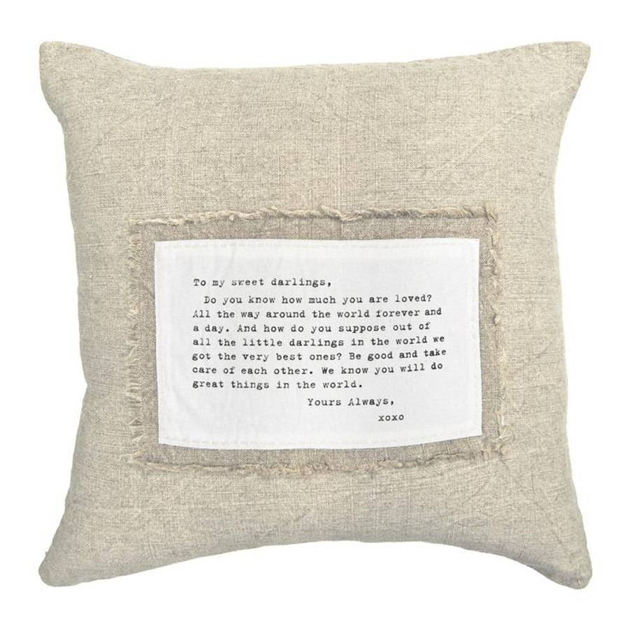 to my sweet darlings patch pillow