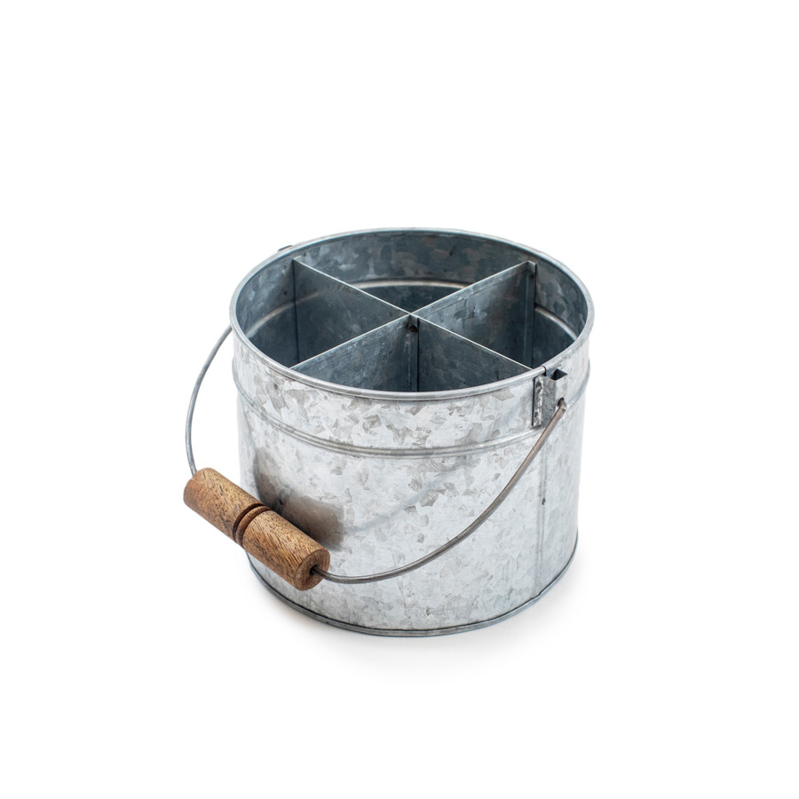 galvanized metal bucket with four dividers and wood handle
