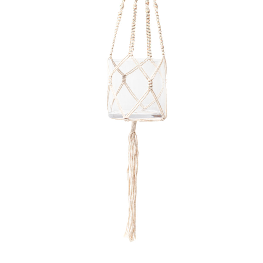 Mini Macrame Hanging Planter with Glass Flower Pot