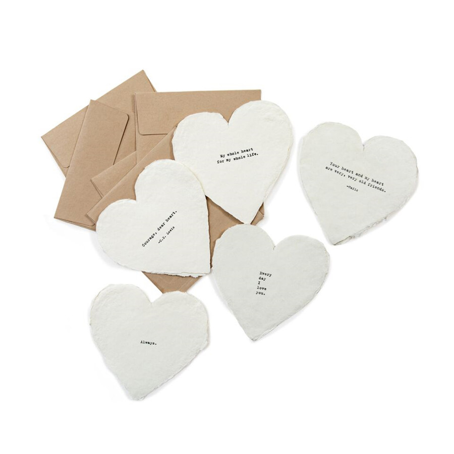 collection of five heart shaped deckle edged notecards
