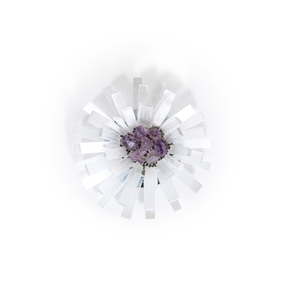 white starburst shape geode with individual clear selenite pieces and amethyst center