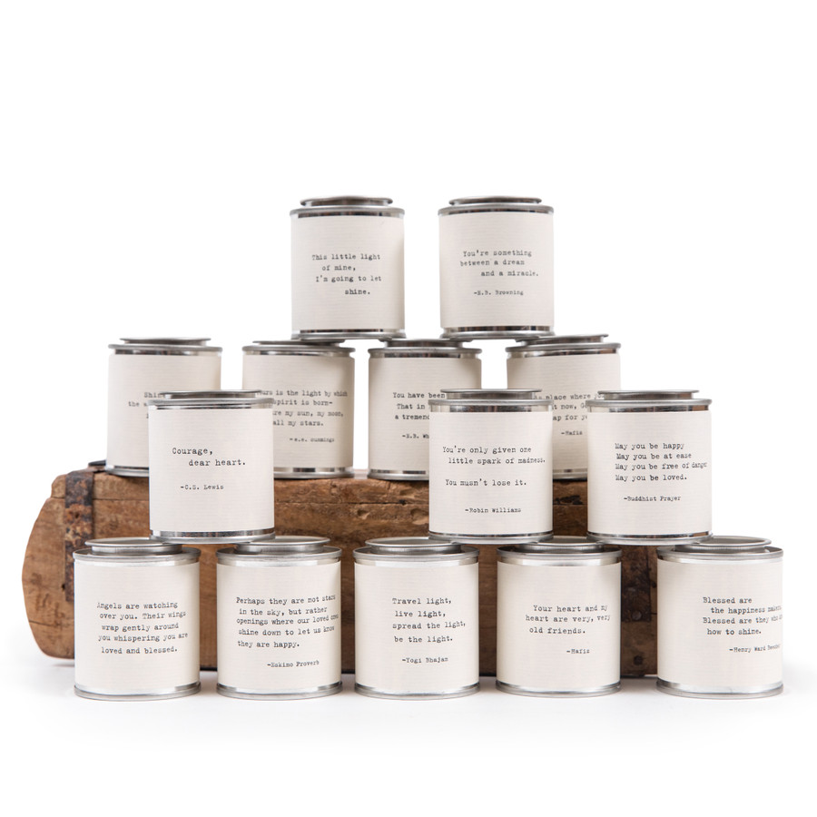 14 mini tin candles with with 14 different quote options