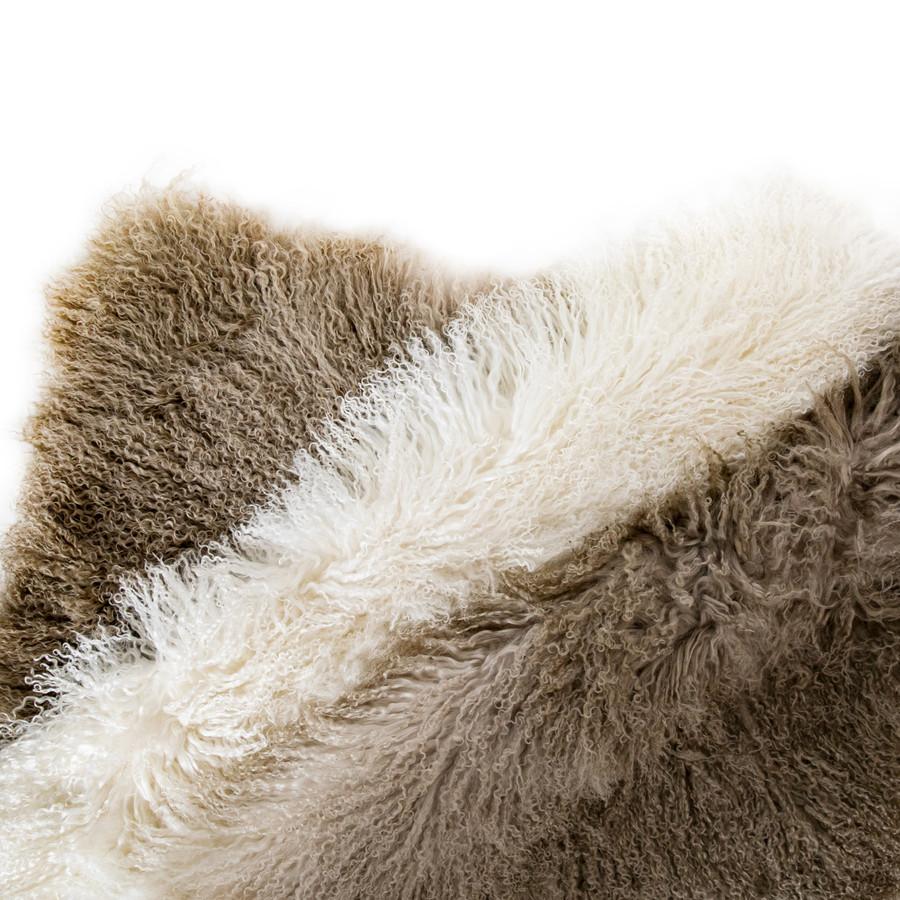 Tibetan Fur Throw - Ivory to Gold