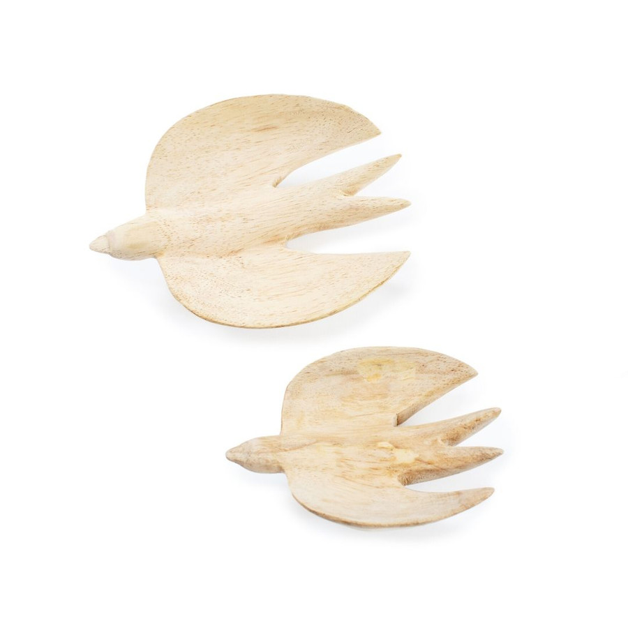 Two wooden wall birds, showing the difference in size between the medium and large bird.