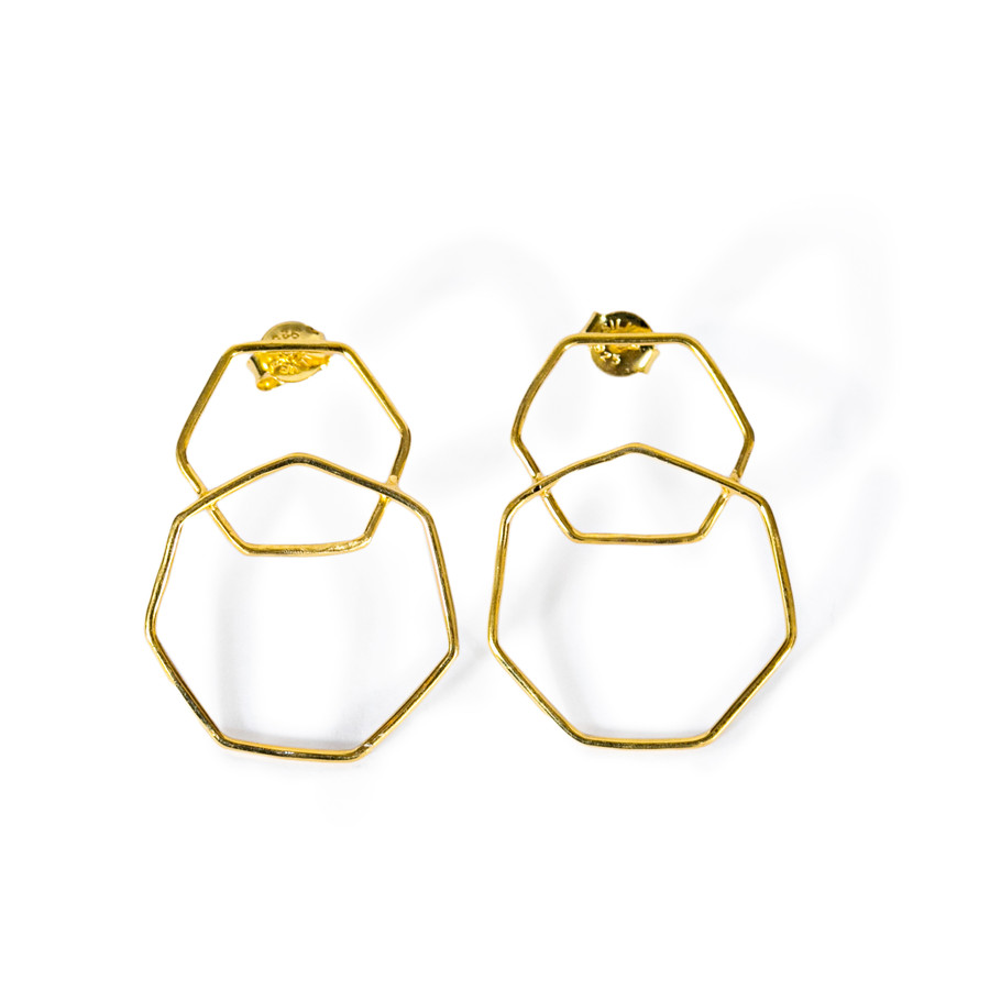 gold plated hexagon earrings, small and large hexagons welded together