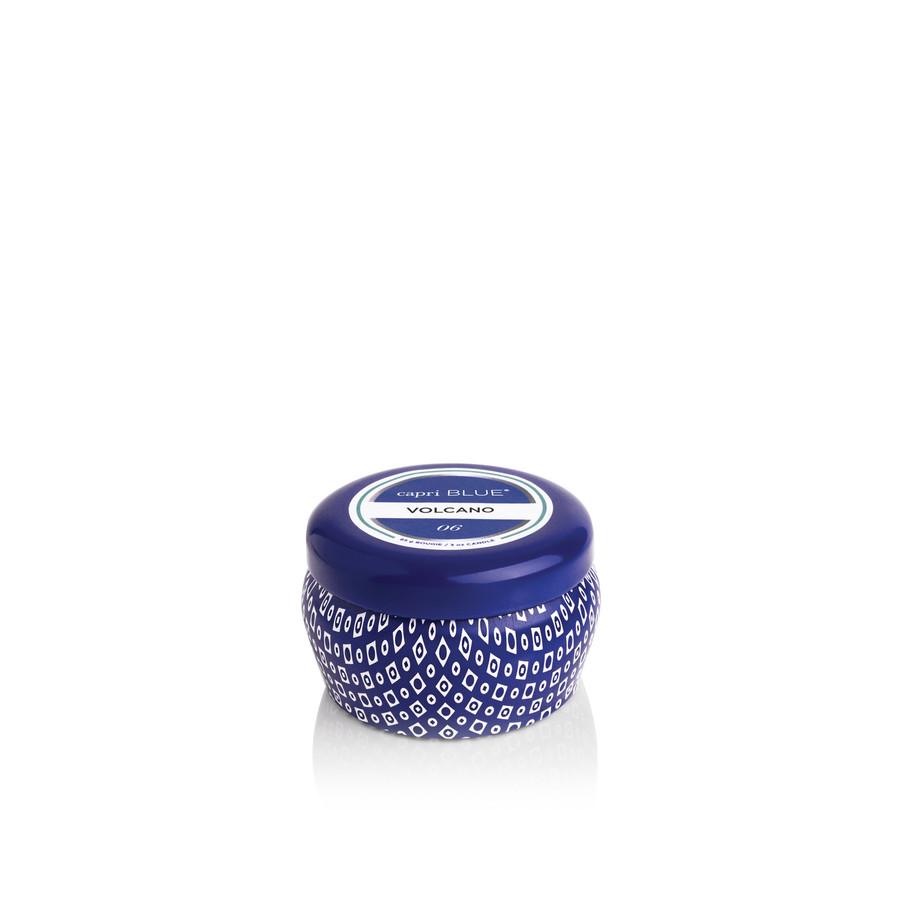 volcano blue mini tin candle
