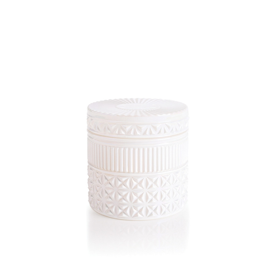 white faceted jar