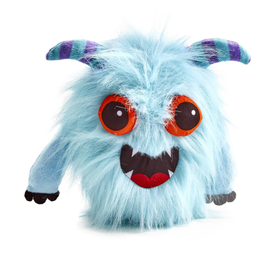 blue monster with blue and purple horns, features a speak and repeat function