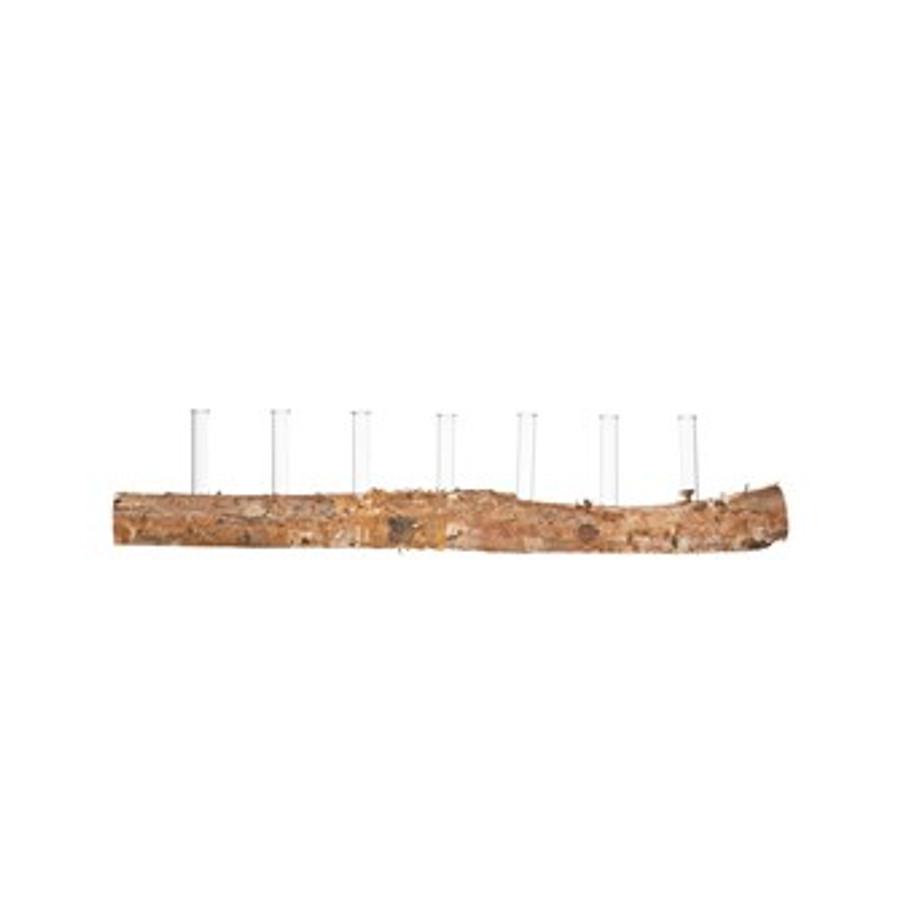 birch wood log with glass vials