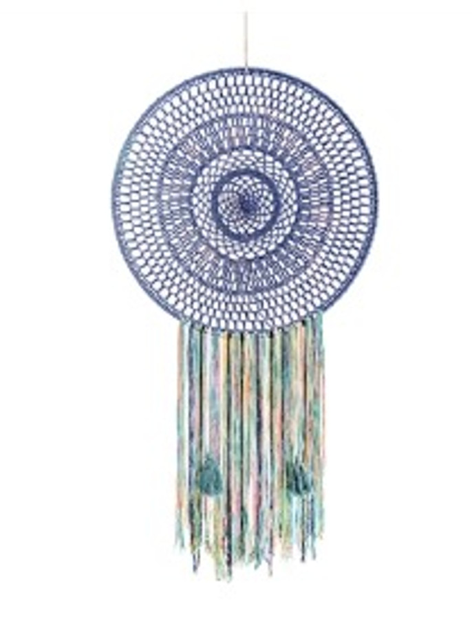 blue dreamcatcher with multicolored yarn