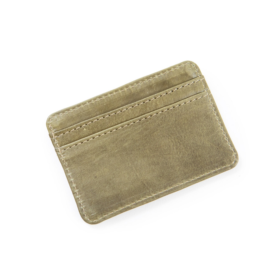 taupe leather card holder