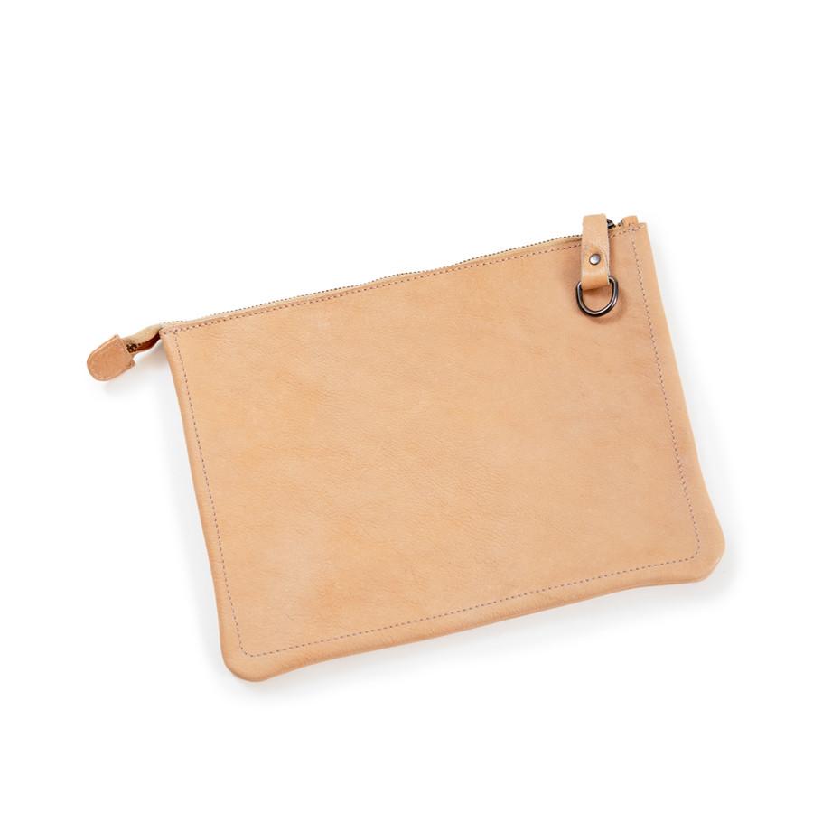 blush leather zip clutch