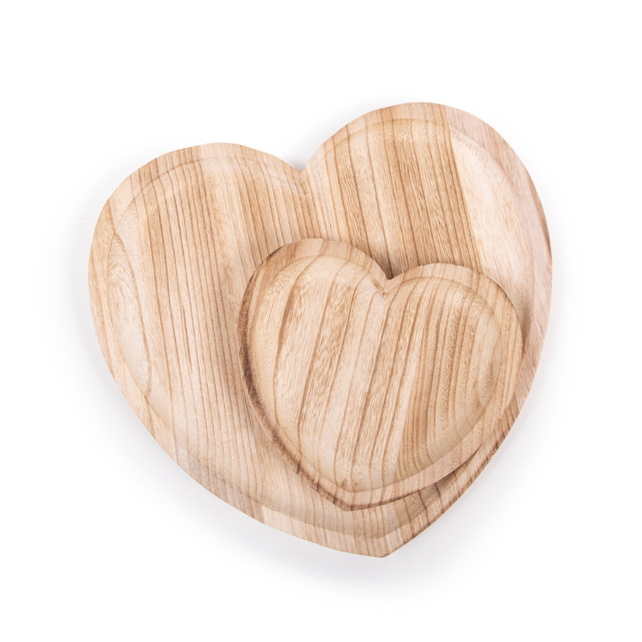large and small heart wood tray