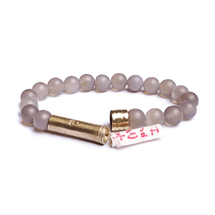 matte grey wishbead bracelet