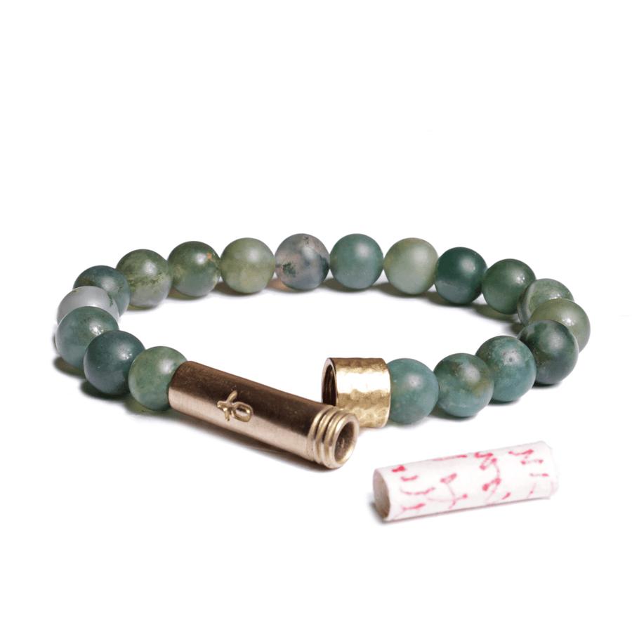 matte grass agate wishbead bracelet