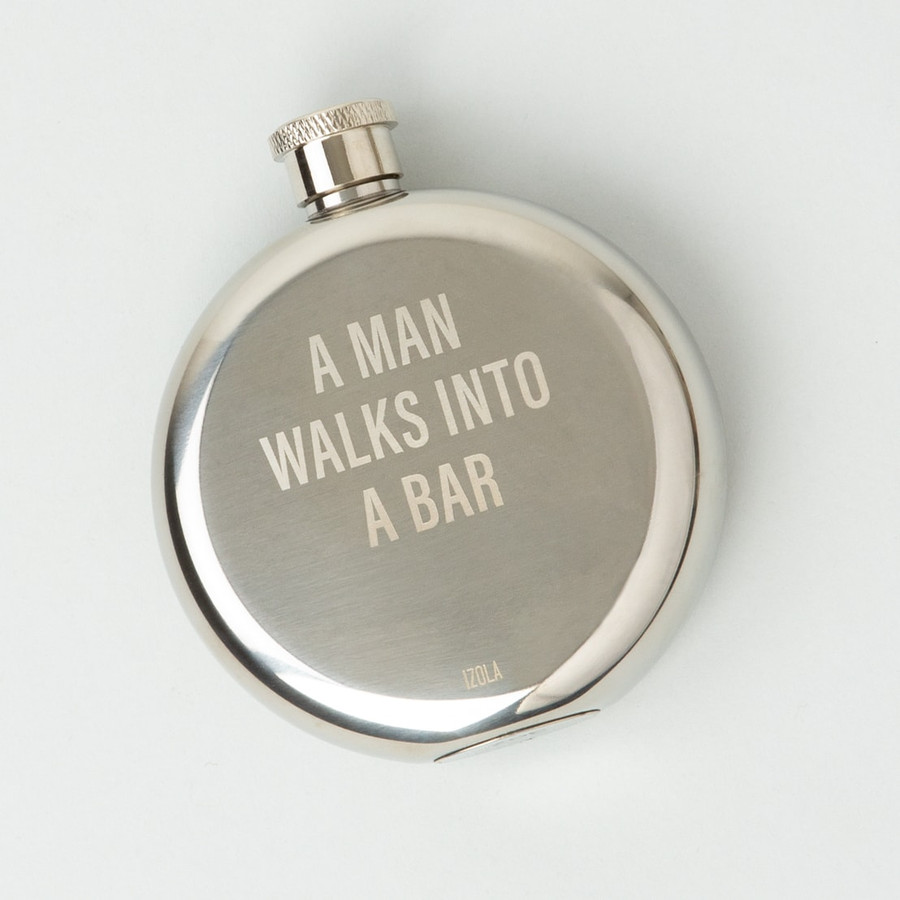 man walks into a bar stainless steel flask