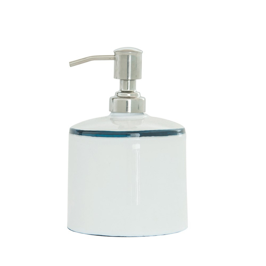 white with blue stripe soap pump