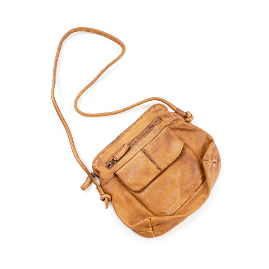 large leather shoulder bag in cognac