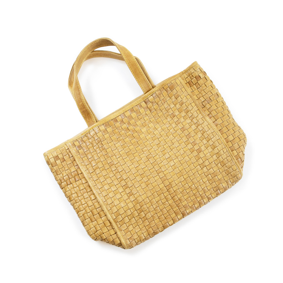 woven leather handbag in dijon