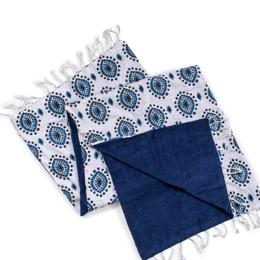 Eye design cotton towel with terry lining
