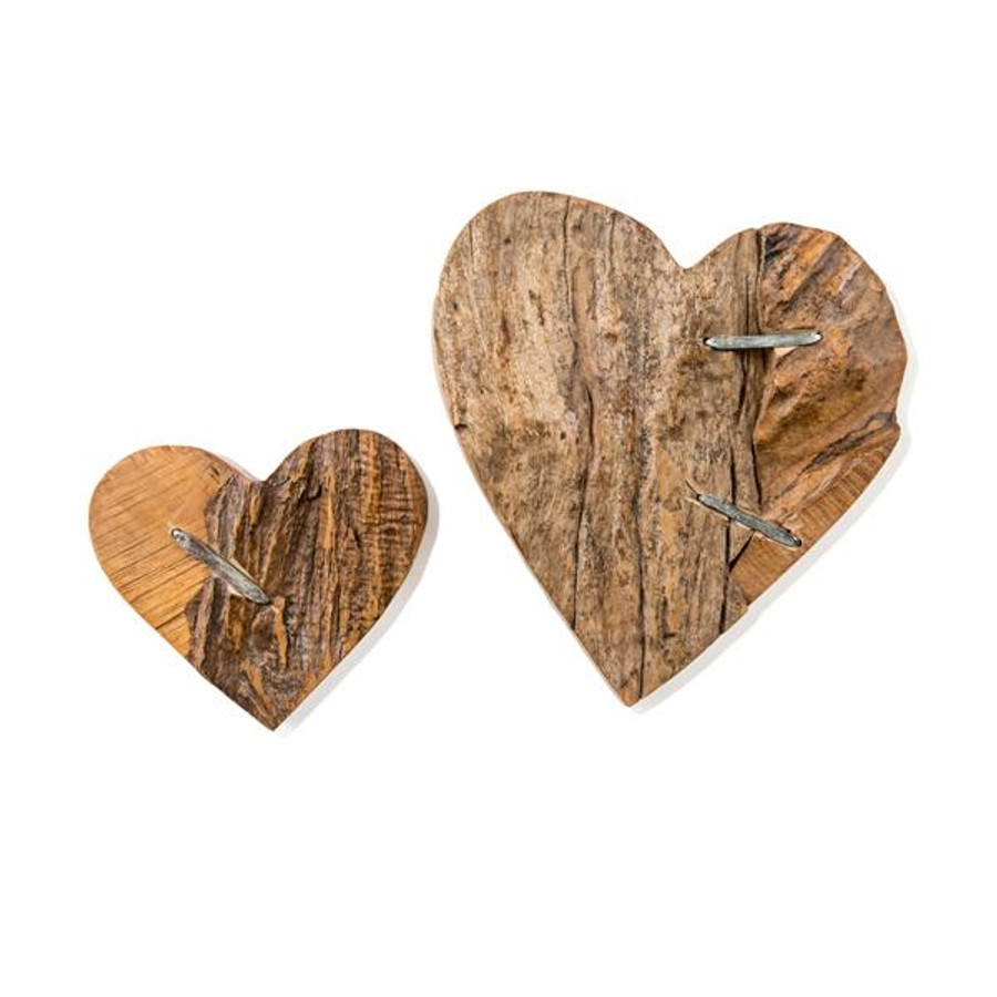 small and medium driftwood table top heart