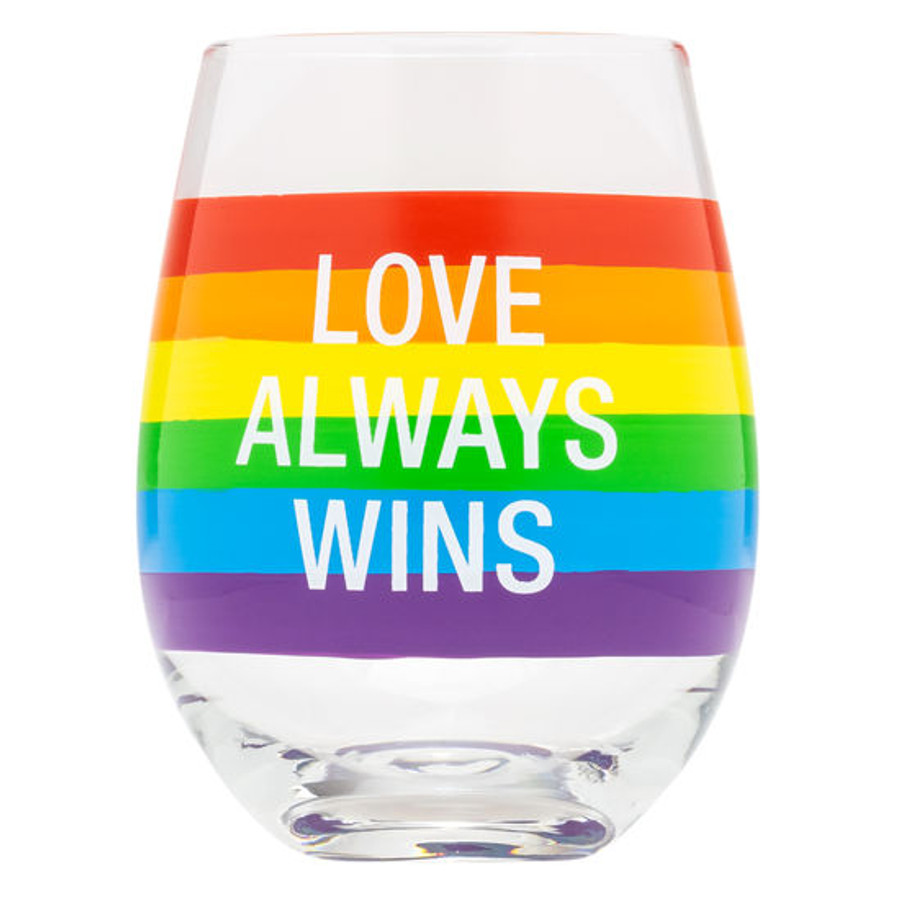 """love always wins"" wine glass with rainbow color bands."