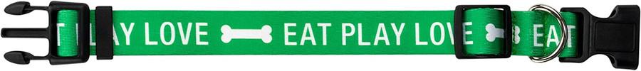 green eat play love dog collar