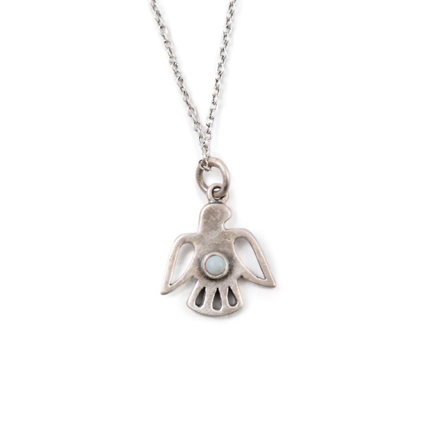 bird charm necklace with opal stone