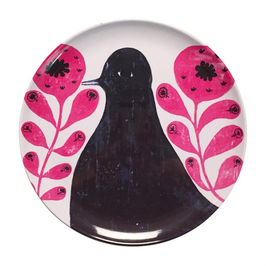 black bird in pink flowers melamine plate
