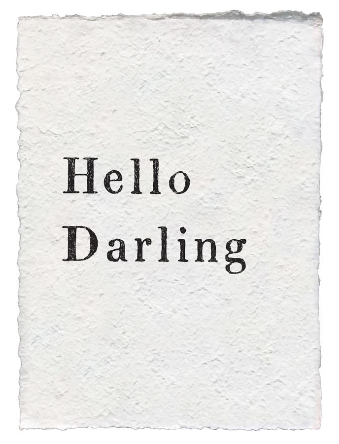 hello darling handmade paper print