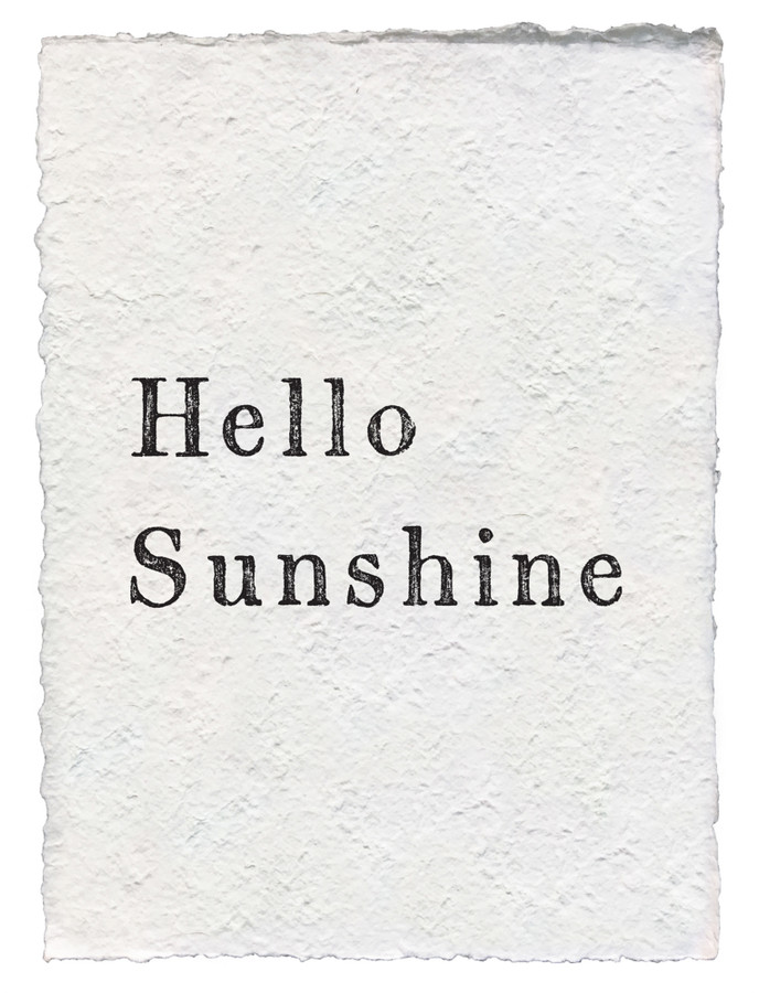 hello sunshine - handmade paper print