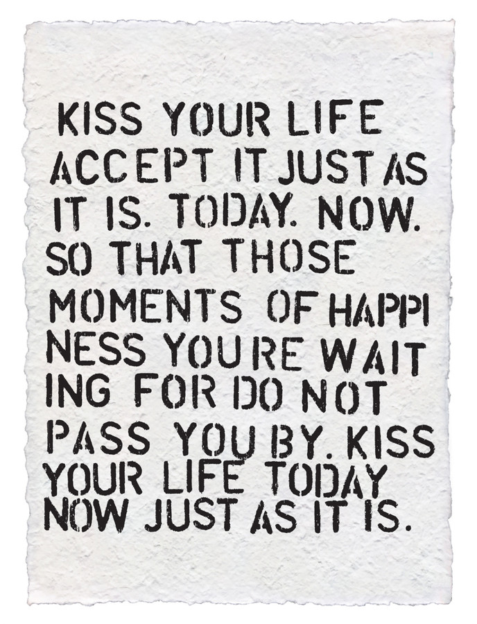 kiss your life handmade paper print