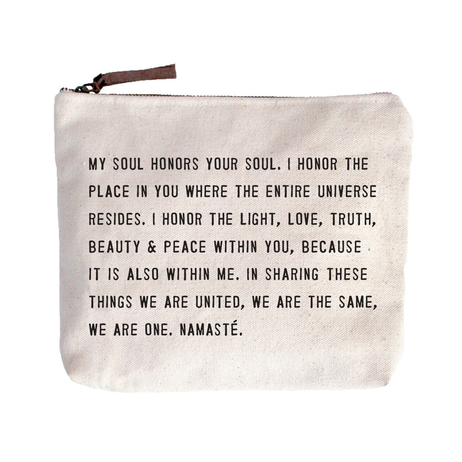 namaste canvas zip bag