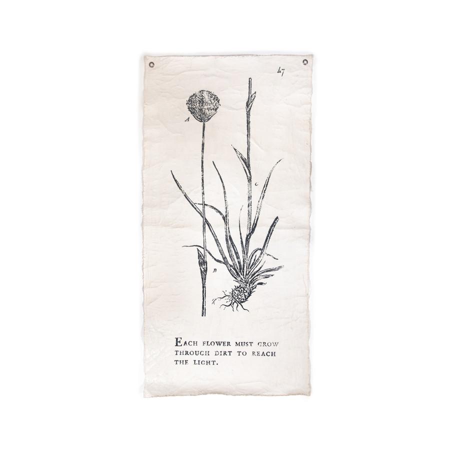 each flower must grow botanical wall tarp