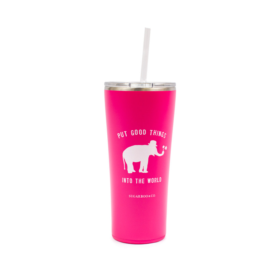 Sugarboo & Co logo on tumbler in hot pink