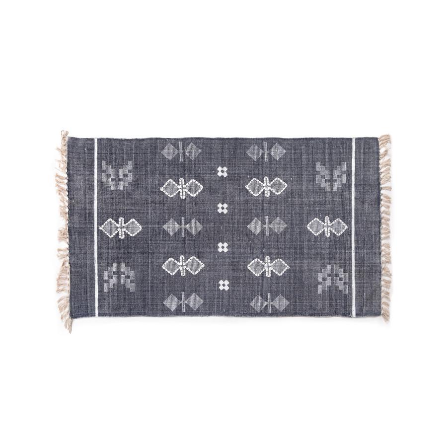 navy rug with fringe