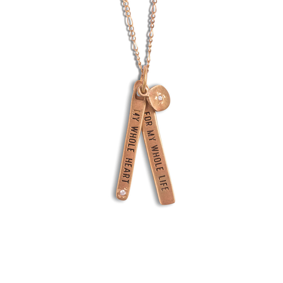 my whole heart for my whole life brass necklace