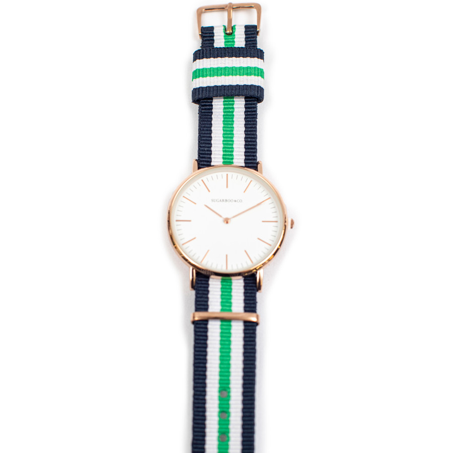 Wrist Watch with Navy and Green Nylon Strap