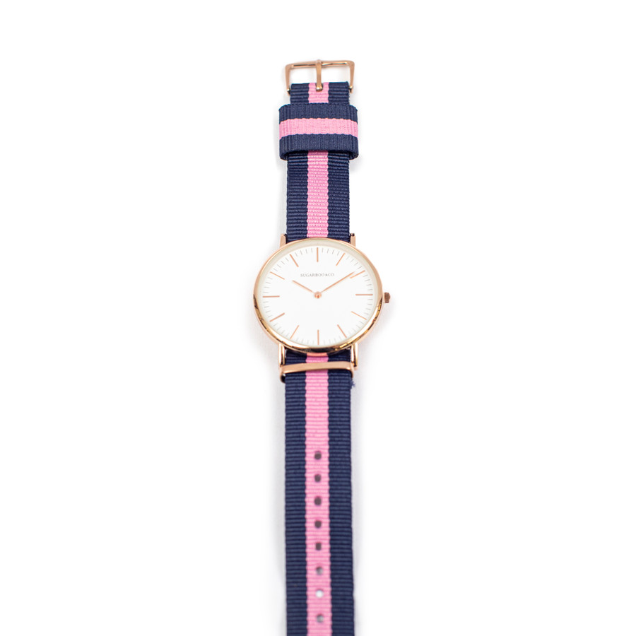Wrist watch with pink and navy nylon strap
