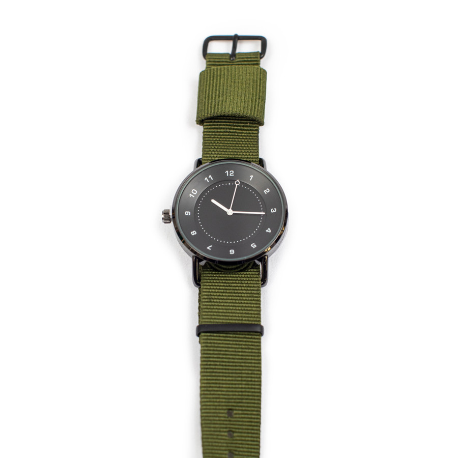 Wrist Watch with Green Nylon Strap