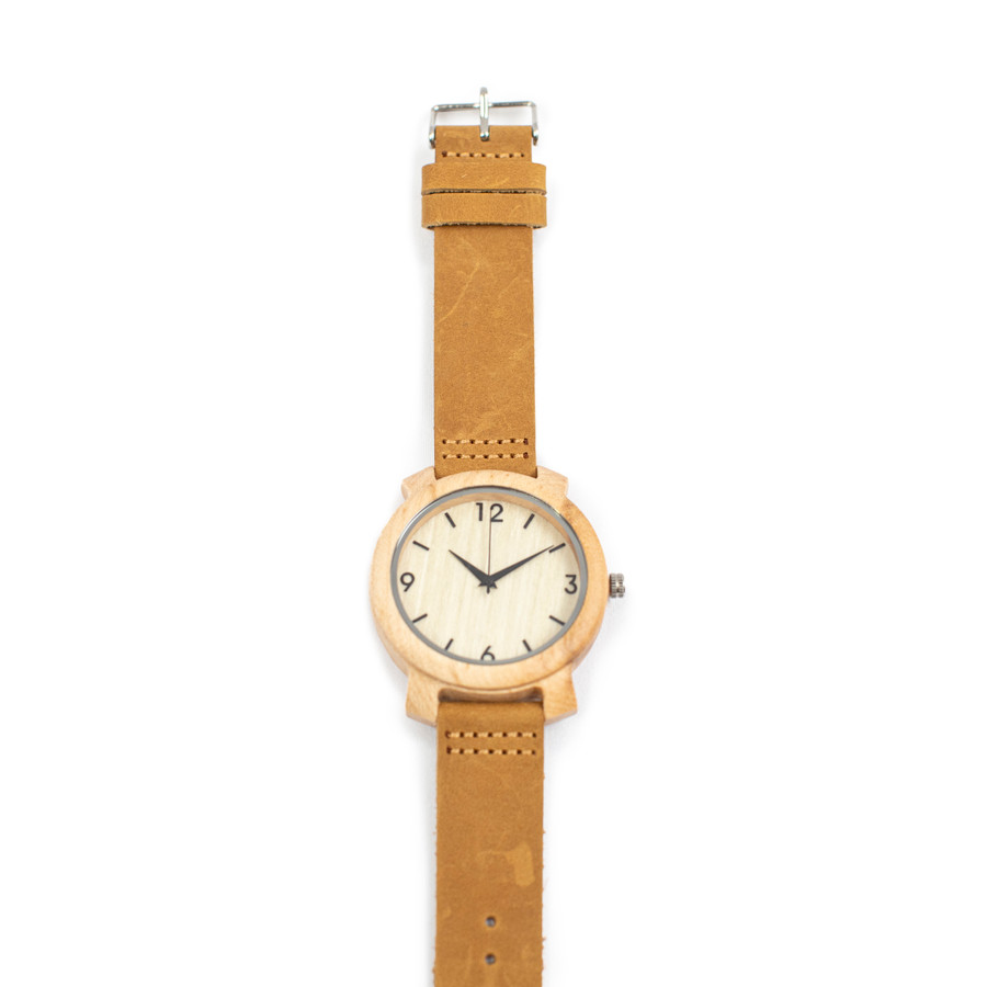 Wrist Watch with Brown Leather Strap