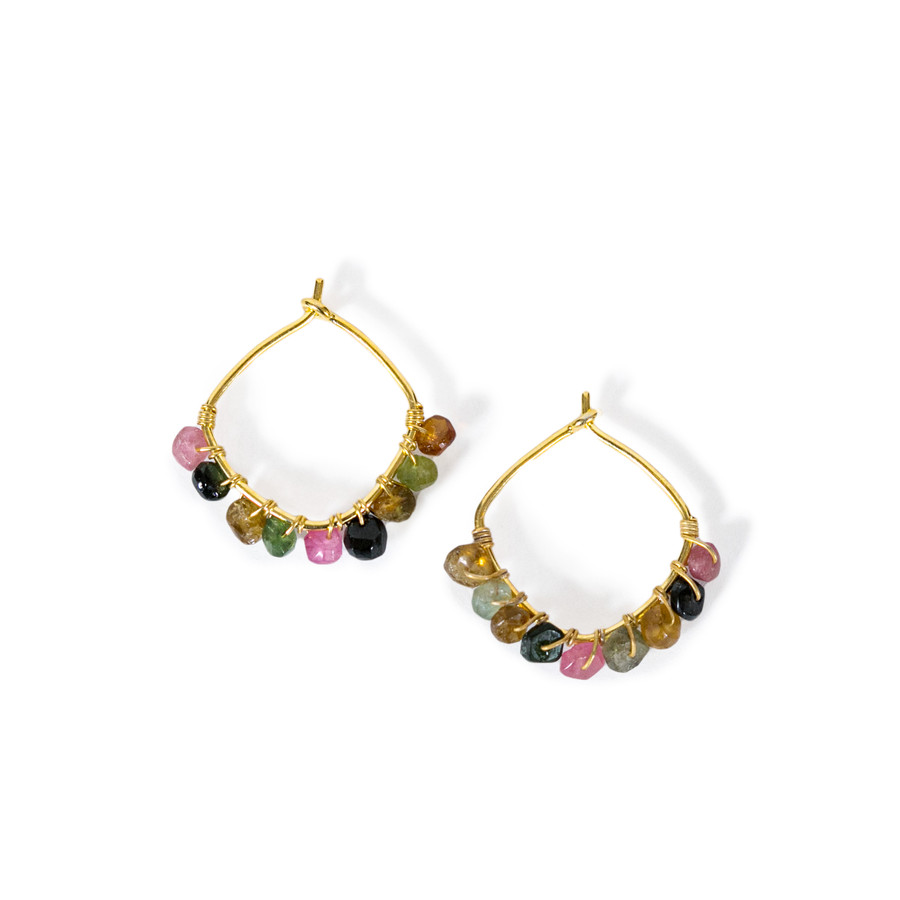 Gold Plated Square Hoop Earring with Multi-color Beads