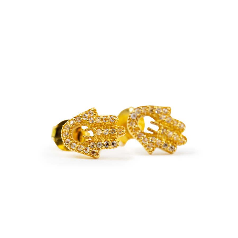 Hand of Fatima Gold Plated Earrings