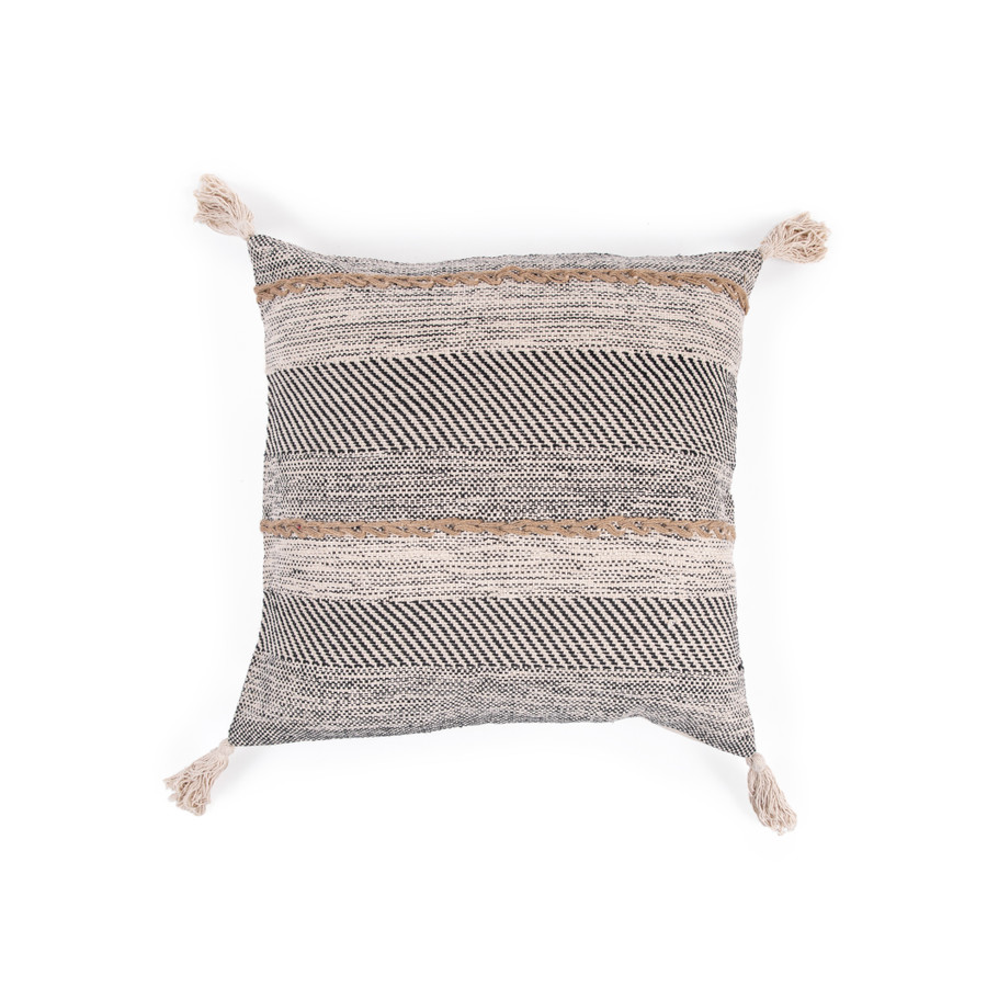 Black and Cream Woven Pillow with Grey Stitching and Tassels