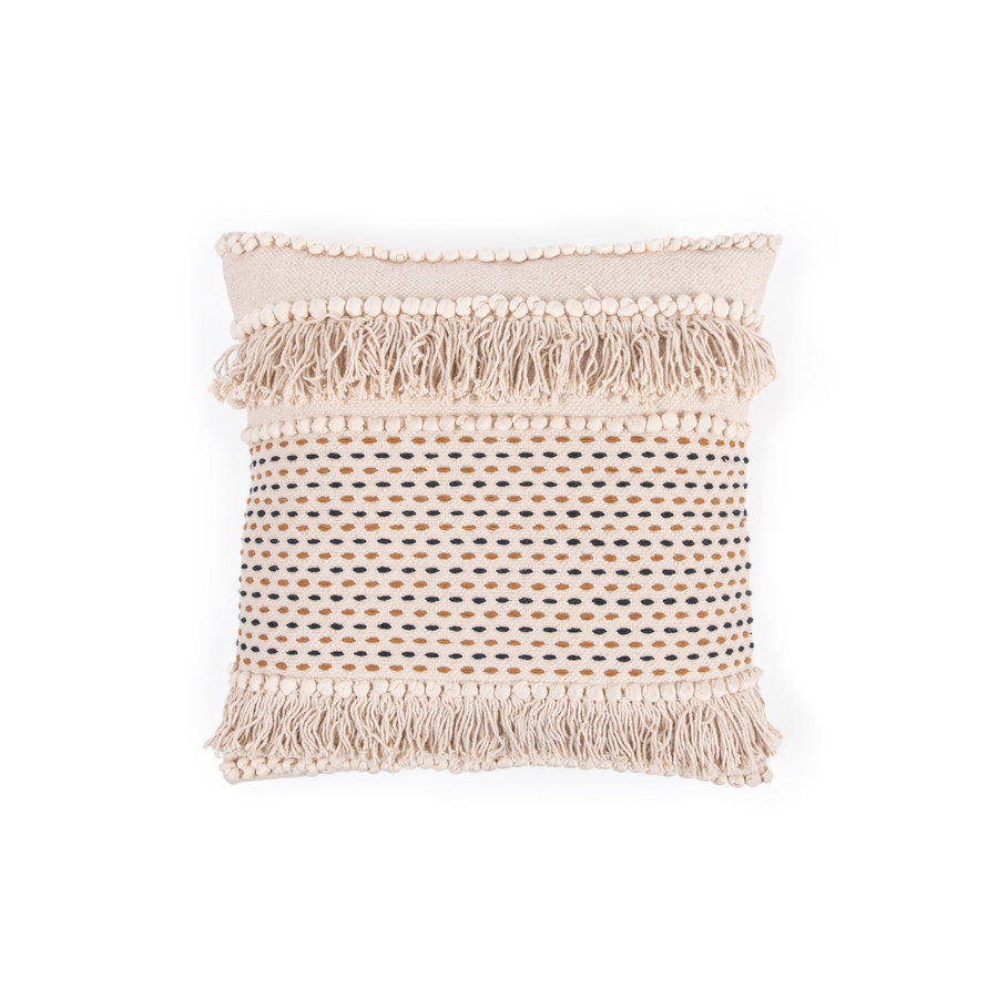 Cream Woven Pillow with Fringe and Black/Brown Stitching