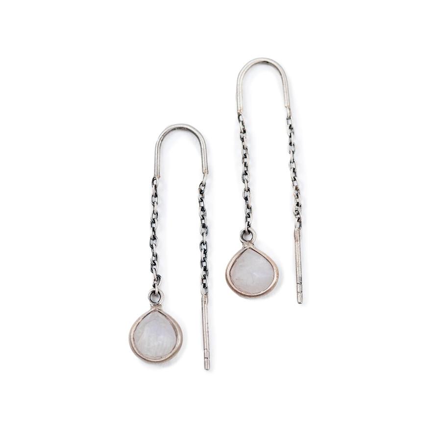 rainbow moonstone threader earrings